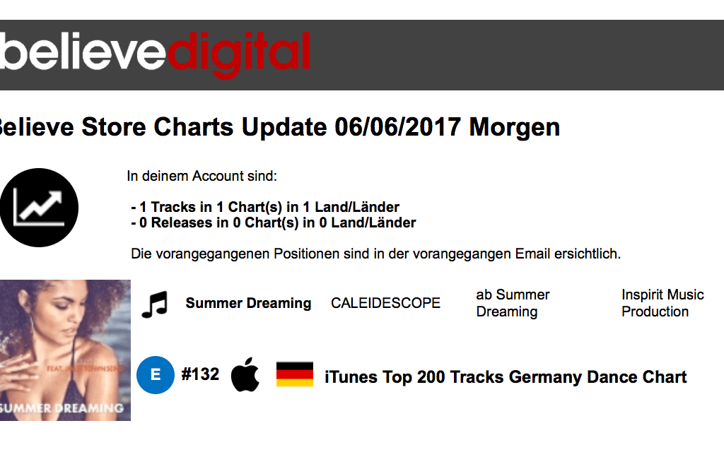 Summer Dreaming Believe Itunes Charts 132